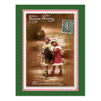 1910 French Happy new Year by 2 cute little girls Postcard