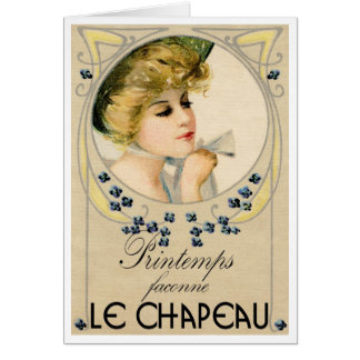 """1910 FRENCH  """"PICTURE POSTCARD"""" MILLINERY GREETING GREETING CARD"""