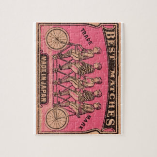 1910 Japanese Tandem Bicycle Matchbox Label Jigsaw Puzzle