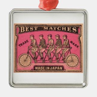1910 Japanese Tandem Bicycle Matchbox Label Metal Ornament