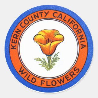 1910 Kern County California Classic Round Sticker
