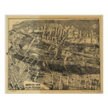1910 Maplewood, NJ Birds Eye View Panoramic Map Poster