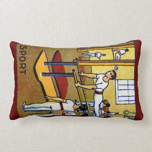 1910 Men's Gymnastics Throw Pillow