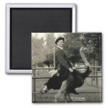 1910 Ostrich Riding 2 Inch Square Magnet