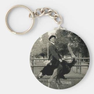 1910 Ostrich Riding Basic Round Button Keychain