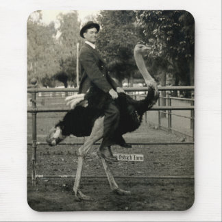 1910 Ostrich Riding Mouse Pad