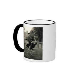 1910 Ostrich Riding Ringer Mug