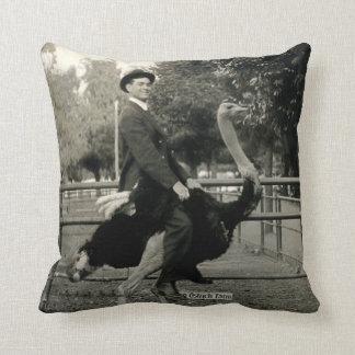1910 Ostrich Riding Throw Pillow