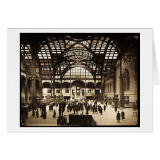 1910 Penn Station NYC Magic Lantern Slide Sepia Card