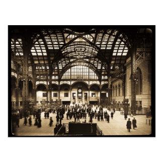 1910 Penn Station NYC Magic Lantern Slide Sepia Postcard