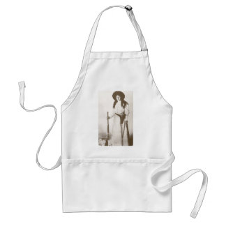 1910 Photo Portrait of a Cowgirl Holding a Rifle Adult Apron