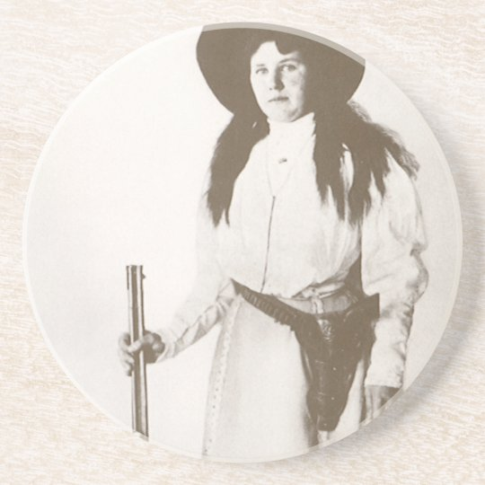 1910 Photo Portrait of a Cowgirl Holding a Rifle Coaster