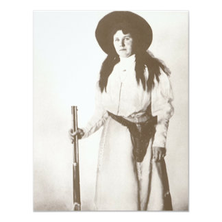 1910 Photo Portrait of a Cowgirl Holding a Rifle 4.25x5.5 Paper Invitation Card