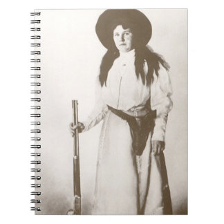 1910 Photo Portrait of a Cowgirl Holding a Rifle Notebook