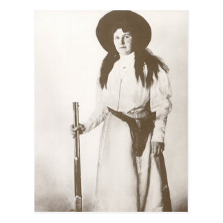 1910 Photo Portrait of a Cowgirl Holding a Rifle Postcard