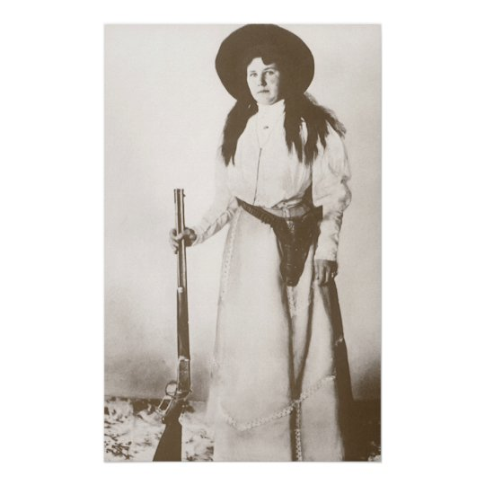 1910 Photo Portrait of a Cowgirl Holding a Rifle Poster