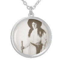 1910 Photo Portrait of a Cowgirl Holding a Rifle Silver Plated Necklace