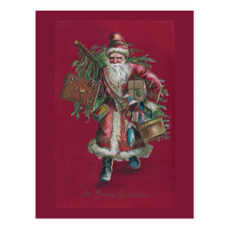 1910 Santa with Tree and Toys Postcard