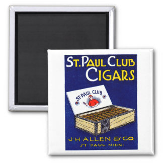 1910 St. Paul Club Cigars 2 Inch Square Magnet