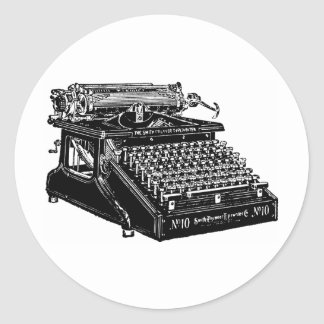 1910 Typewriter Classic Round Sticker