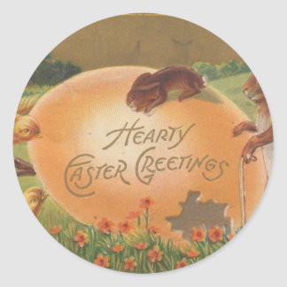 1910 Vintage Hearty Easter Greeting Classic Round Sticker
