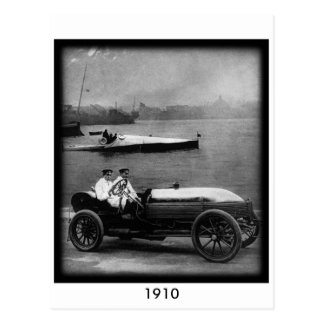 1910 Vintage Race Car & Speed Boat-Post Card