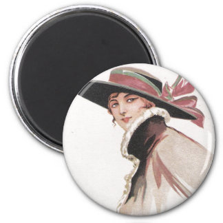 1910 Vintage Woman with Bonnet 2 Inch Round Magnet