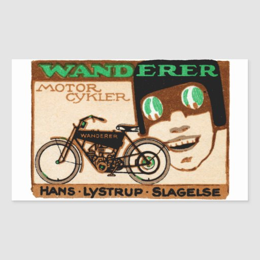 1910 Wanderer Motorcycle Poster Rectangle Stickers