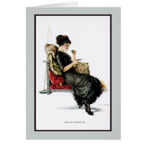 1910s Porch Swing Flirt Greeting Card Zazzle