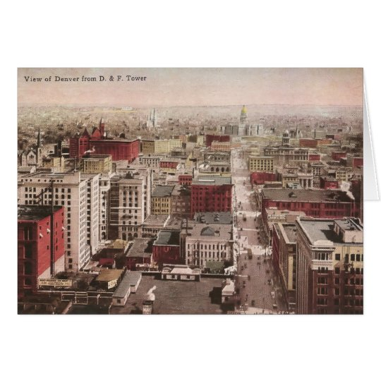 1910's View of Denver, CO from The D & F Tower Card
