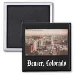 1910's View of Denver, CO from The D & F Tower 2 Inch Square Magnet