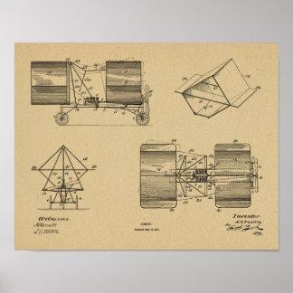 1911 Flying Machine Airplane Art Drawing Print