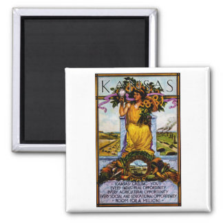 1911 Kansas Poster 2 Inch Square Magnet