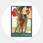 1911 Turin Italy Poster Round Sticker