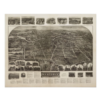 1911 Westerly, RI Birds Eye View Panoramic Map Poster
