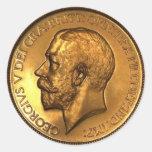 1911fivepoundgoldproofobv400 pegatina redonda