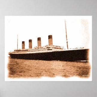 1912-2012 dibujo conmemorativo titánico firmado póster