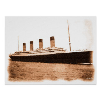 1912-2012 Signed Titanic Memorial drawing Poster