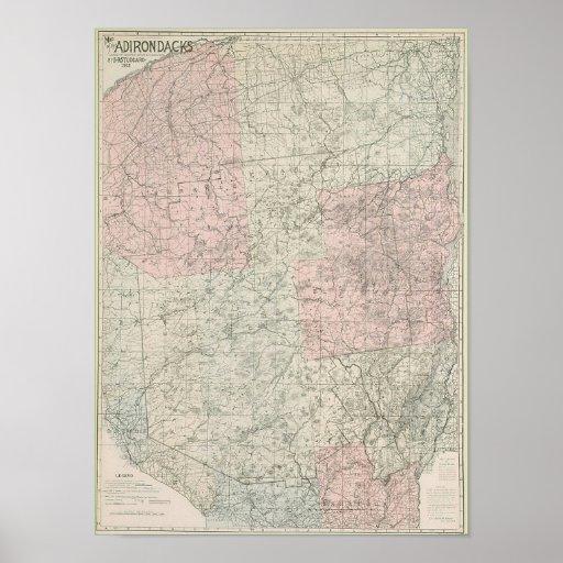 1912 Adirondacks Map Poster