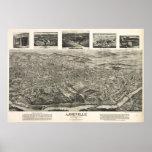 1912 Asheville, mapa panorámico de la opinión de o Poster