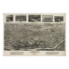1912 Asheville, NC Birds Eye View Panoramic Map Poster
