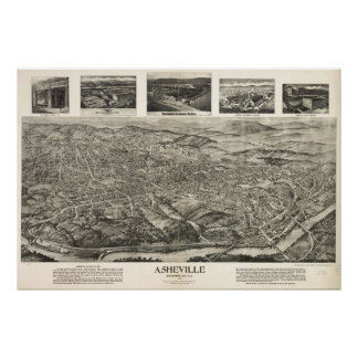 1912 Asheville, NC Birds Eye View Panoramic Map Posters