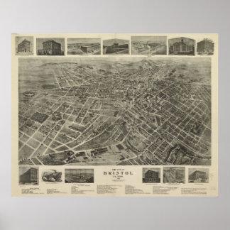1912 Bristol, VA TN Bird's Eye View Panoramic Map Poster