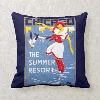 1912 Chicago el centro turístico de verano Cojines