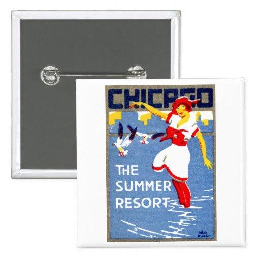 1912 Chicago, el centro turístico de verano Pin