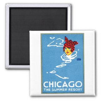 1912 Chicago, The Summer Resort 2 Inch Square Magnet