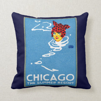 1912 Chicago, The Summer Resort Throw Pillows