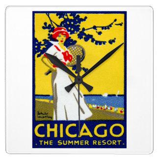 1912 Chicago, The Summer Resort Square Wall Clocks