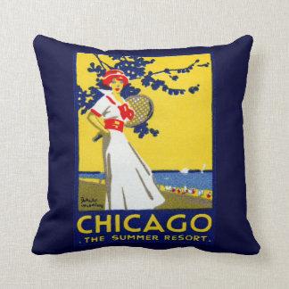 1912 Chicago, The Summer Resort Throw Pillows