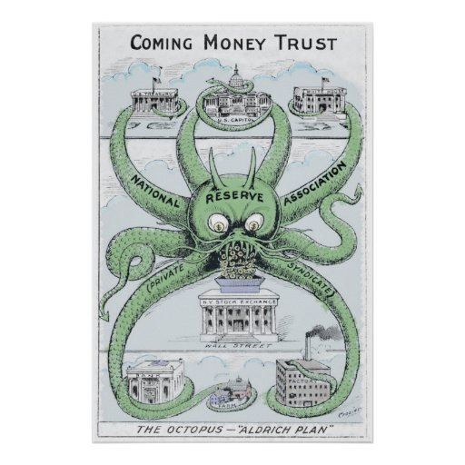 1912 Federal Reserve COLORIZED Political Cartoon Posters